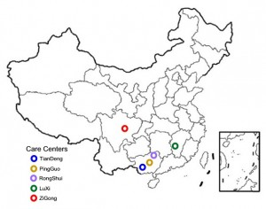 The Chinese Agape Foundation operates in five different locations within China. (Map, caption courtesy Chinese Agape Foundation)