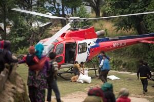 Relief workers assisting in Nepal following the two earthquakes, supported by MAF (photo courtesy of MAF)
