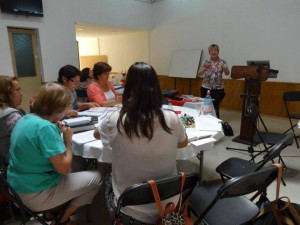 Missionary Evelyn Stone trains volunteers for a new pregnancy center in Chile.  (Photo, caption courtesy Life Matters Worldwide)
