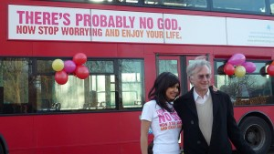 Atheist Bus Campaign creator Ariane Sherine and Richard Dawkins at its launch in London. (Photo, caption courtesy Wikipedia)