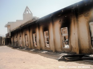 Remains of church building hit by explosives. (Photo, caption courtesy Christian Aid Mission)