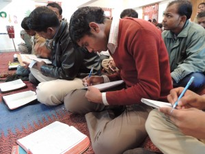 These leaders in North India are listening to a message on discipling new leaders. (Photo, caption courtesy Global Advance via Facebook)