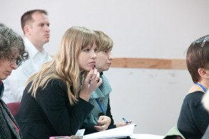 Training session for church leaders in Ukraine.  (Photo courtesy LIFE International)