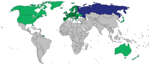 Countries that placed sanctions against Russia (purple) in 2014.