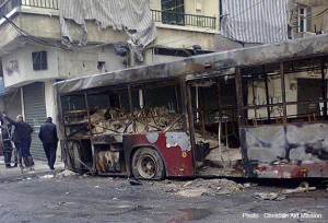 Bombed out bus in Aleppo, Syria.  (Photo, caption courtesy Christian Aid Mission)