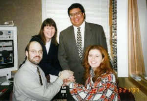 The MNN and WCSG news team 1997 (Greg Yoder, Becky Carlson, Joel Hill and Jenni Travasos)