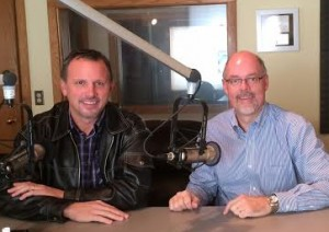 Greg Yoder with Gregg Kelley with World Mission in the studio earlier this year.