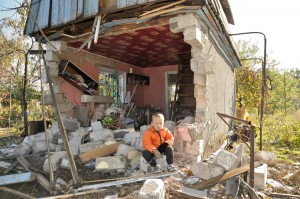 Destruction of home in Khartsyzk, Donetsk region. Armed conflict, Ukraine, 2014 (Photo courtesy of LFI)