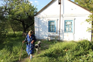 Vera by home in Eastern Ukraine. (Photo courtesy of Mission Eurasia)