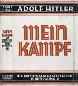 Dust jacket of the book Mein Kampf, written by Adolf Hitler. Courtesy of the New York Public Library Digital Collection. (Wikipedia)