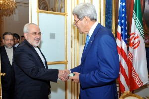 U.S. Secretary of State John Kerry shakes hands with Iranian Foreign Minister Mohammad Javad Zarif [State Department photo/ Public Domain]