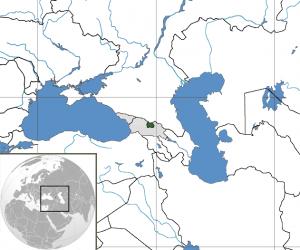 Map of South Ossetia with Georgia and Abkhazia.  (Wikipedia)