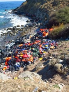 Thousands upon thousands of life-jackets are abandoned at the Lighthouse area of Lesbos. (Photo, caption courtesy OM)