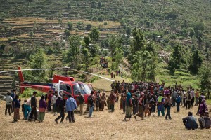 Elena Tifrea and Toma Dursima, with the humanitarian group Acted, fly on the MAF-coordinated helicopter in Nepal the day after a second strong earthquake rocked the country, landing at a village near the epicenter of the quake. In a quick assessment of the situation of the village Alumpu, the team learned that all 150 homes in the community of 500 people are either completely destroyed or uninhabitable. Their food supply as well was low, and they said they had received no help since the first earthquake struck taking down about 100 homes. The second earthquake finished off the village shelter options. Acted scheduled flights for the following days to begin bringing in urgently needed tarps and food.