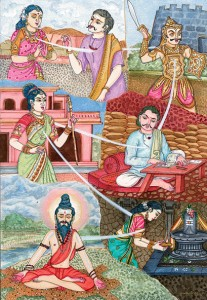 Illustration of reincarnation in Hindu art (Copyrighted to Himalayan Academy Publications, Kapaa, Kauai, Hawaii. Licensed for Wikipedia under Creative Commons)
