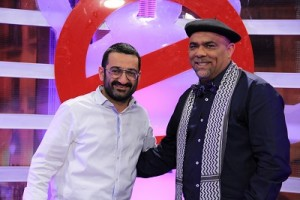 """Tunisian presenter Imed Dabbour (right) with Lebanese actor-director Georges Khabbaz on SAT-7's """"Forbidden"""" program. (Photo, caption courtesy SAT-7)"""