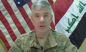 A video screen grab shows Operation Inherent Resolve Spokesman, Army Col. Steve Warren briefing the Pentagon Press Corps on Oct. 21, 2015. Michael Feddersen/U.S. Navy