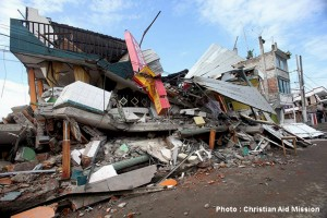 (Photo and caption courtesy Christian Aid Mission) Downed building in Pedernales, Ecuador.