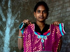This dress took about four hours for Gowri to make, and she sold it for two day's wages (Image courtesy of Donna Glass/India Partners).