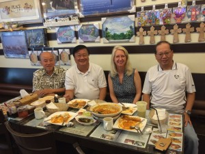 CBI international director Cynthia Williams in Singapore: She met with CBI Singapore director Paul Tan, along with key leaders Roger and Peter (Caption and Photo courtesy of Crossroad Bible Institute via Facebook)