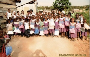 Students in Uganda receive mosquito nets. Photo courtesy of Set Free Ministries.
