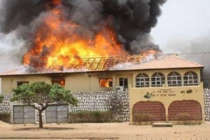 A devastating fire set by Boko Haram militants. (Photo courtesy of World Mission)