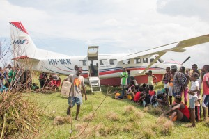 The delivery of supplies to Dame Marie, Haiti, which was devastated by the hurricane. (Photo courtesy of Paul O'Brien with MAF)