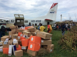 The delivery of supplies to Dame Marie, Haiti, which was devastated by the hurricane. (Photo courtesy of Vaughan Woodward with MAF)