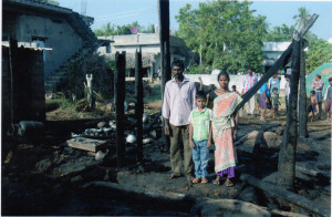 This family's home was completely destroyed by fire. (Photo courtesy of India Partners).