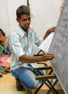 An Adult Literacy Class with Mission India. (Photo courtesy of Mission India via Facebook)