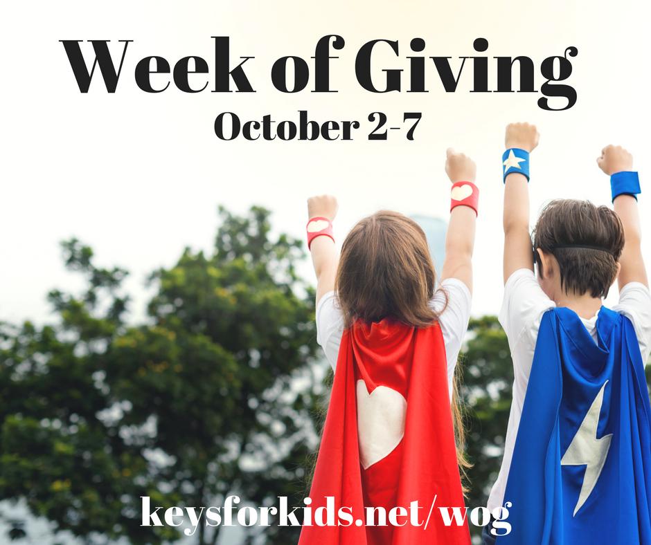 sharathon; week of giving; keys for kids