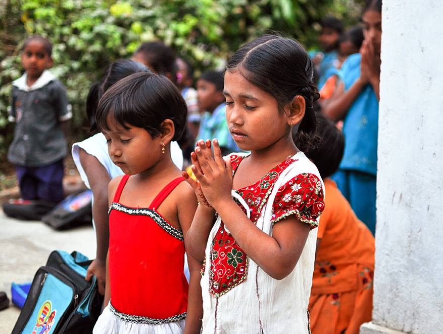 Indian children, kids, girls, praying, prayer