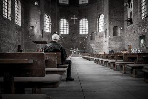 church, cross, pews, service, windows