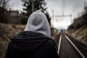 hoodie, back, sad