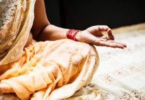 hindu woman, hand, meditation