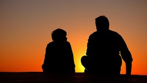 pixabay, talking, father son, sunset
