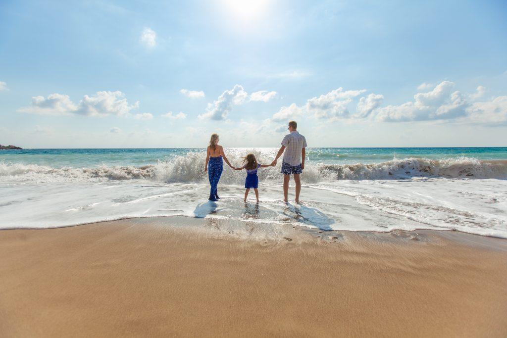 parents, family, beach, ocean, water, mom, dad, kid, child