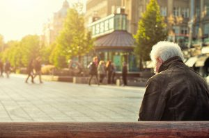 veterans, man sitting on bench thinking