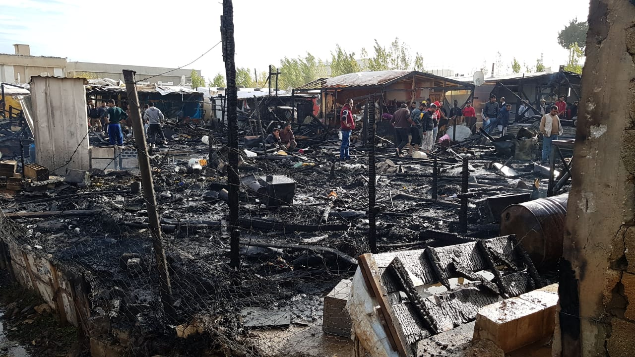 Tent fire displaces nearly 150 Syrian refugees