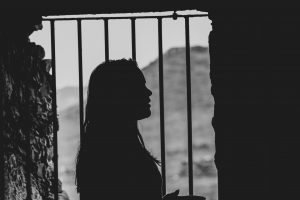 prison, jail, woman, bars, window