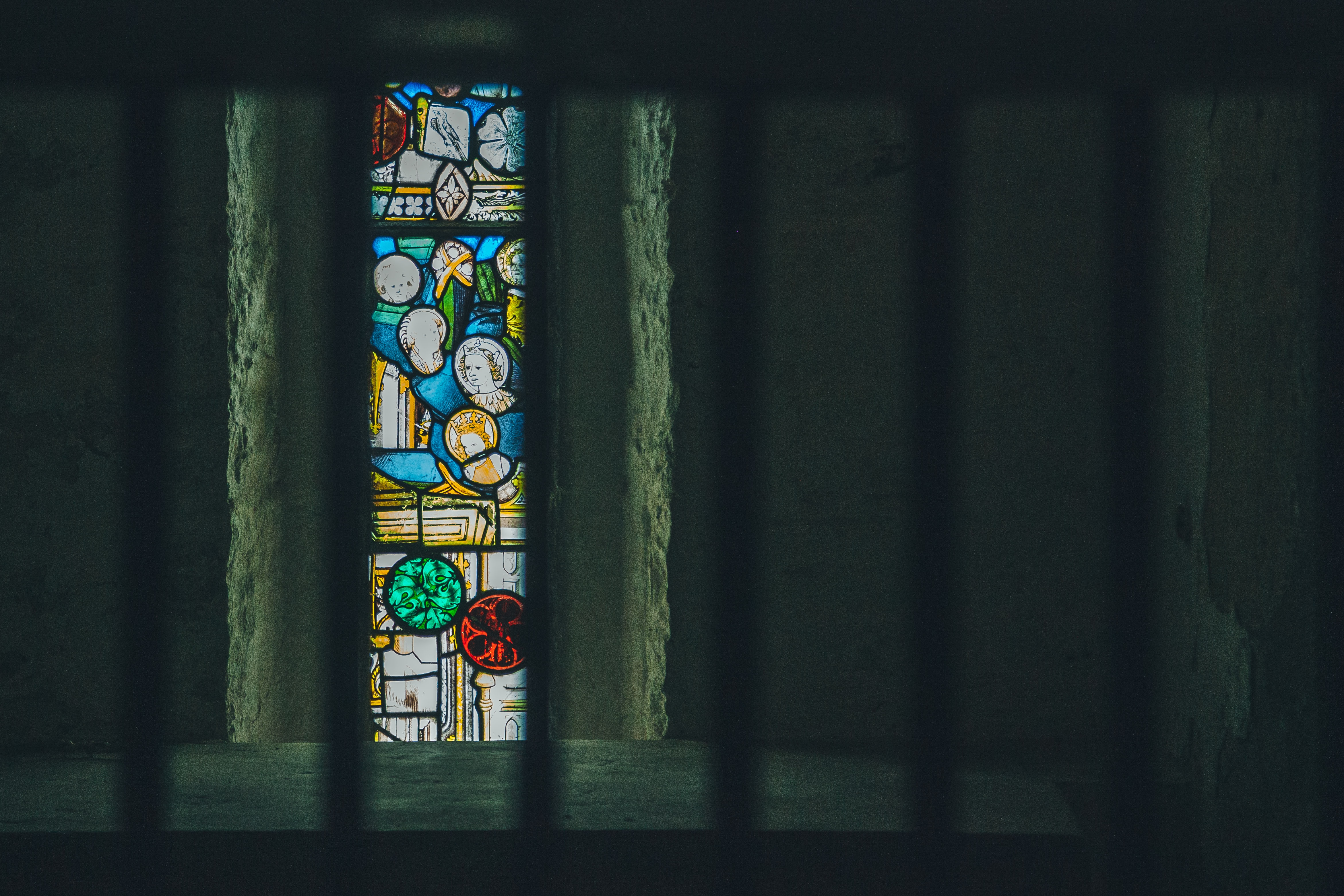 prison bars, jail, stained glass window