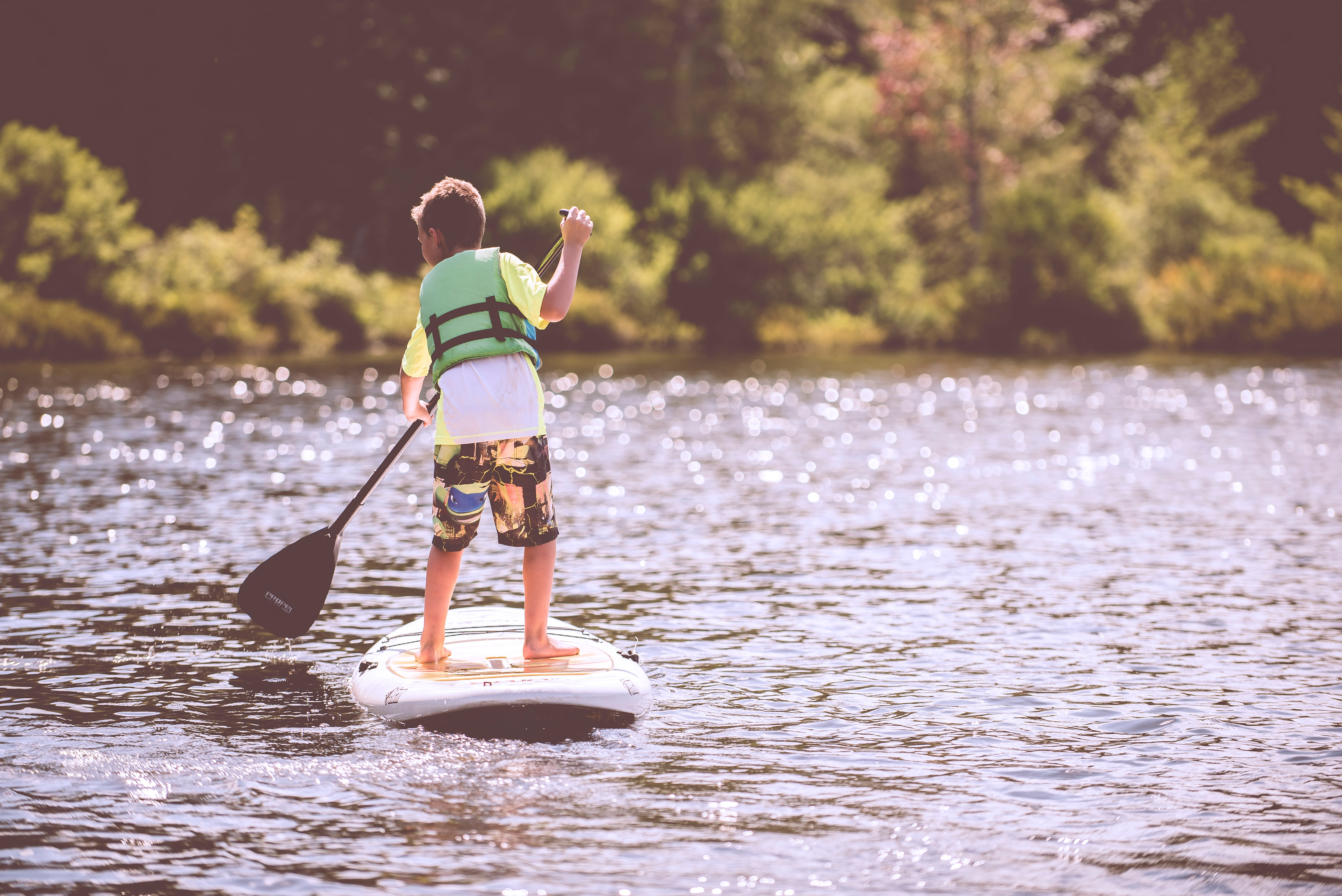 camp, paddleboard, boy, water, boat