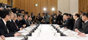 Novel Coronavirus Expert meeting in Japan. This was the first meeting on February 16. Mr. Abe can be seen on the right. (Photo courtesy of Wikimedia Commons)