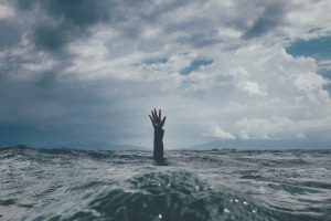 stress, hand, ocean, water, drown