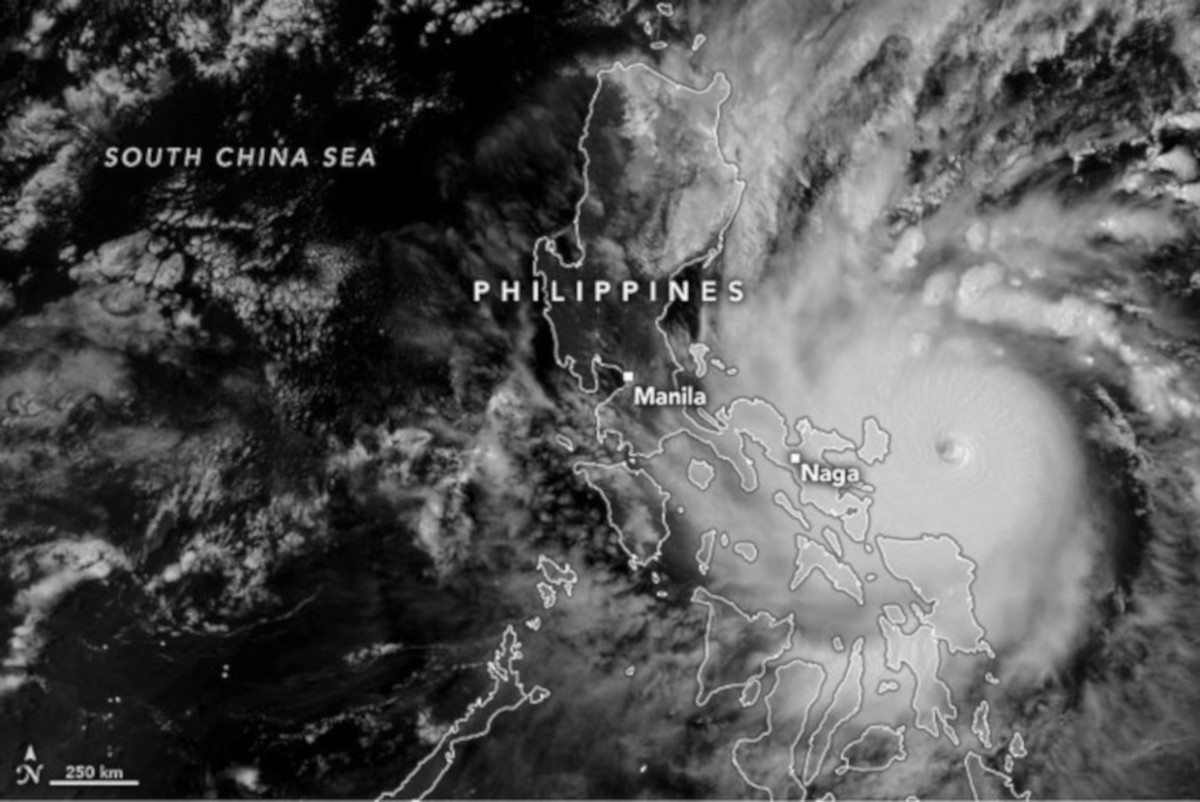 Header image depicts Super Typhoon Goni, which made landfall with maximum sustained winds of 310 kilometers (195 miles) per hour near its center. (Photo credit: NASA)