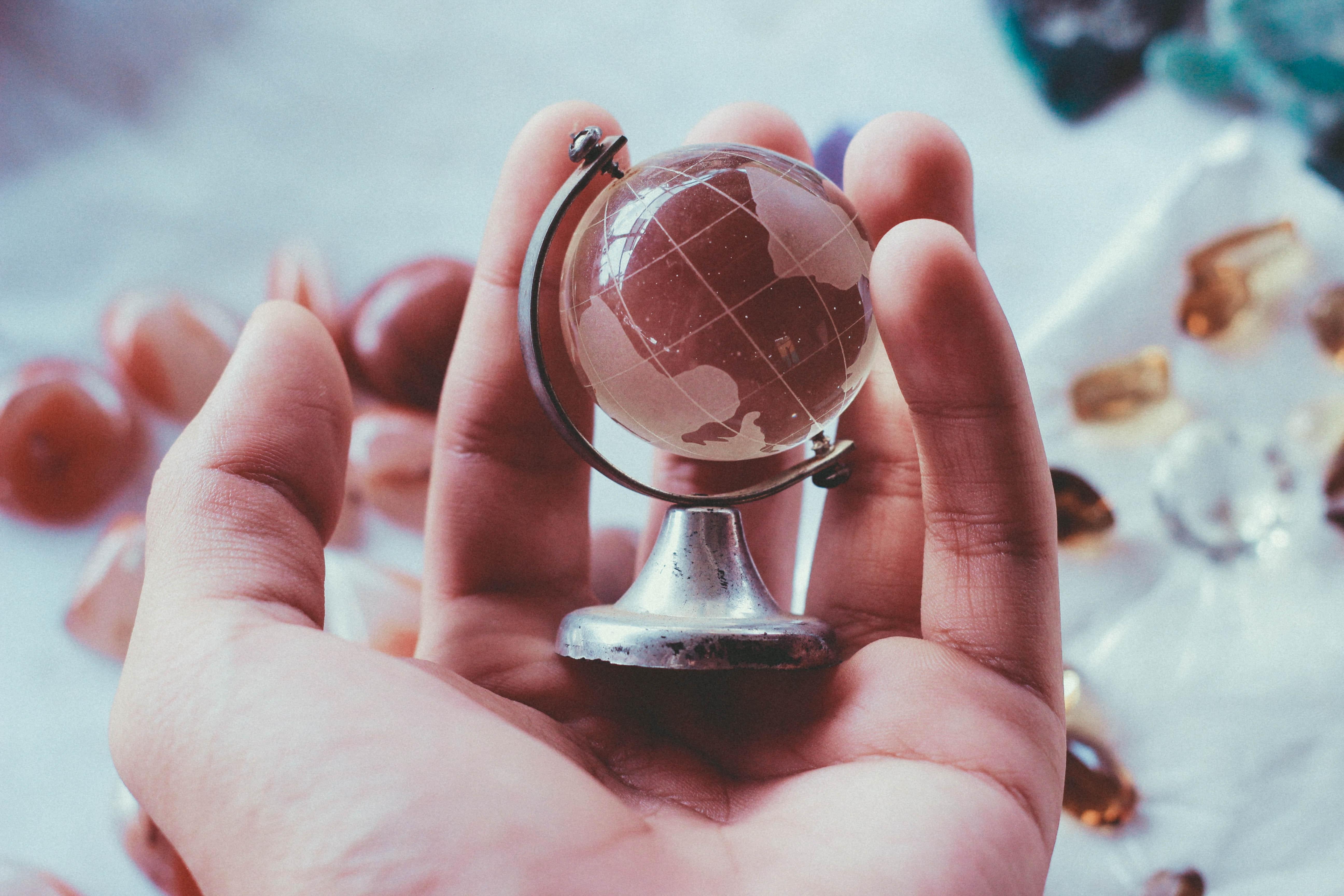 globe, world, hand
