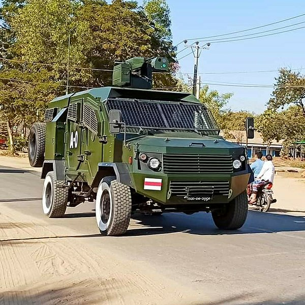 An armored car patrolling Myanmar after the coup. (Photo courtesy of Wikimedia Commons, Public Domain)