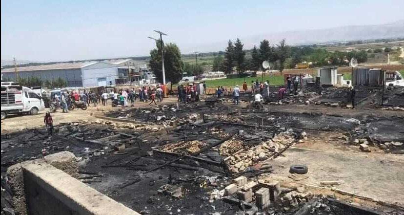 Refugee camp burns in Lebanons' Beqaa Valley
